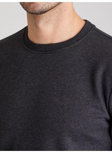 Dufy A.Grı Bısıklet Yaka Düz Erkek Sweatshırt - Slım Fıt Antrasit